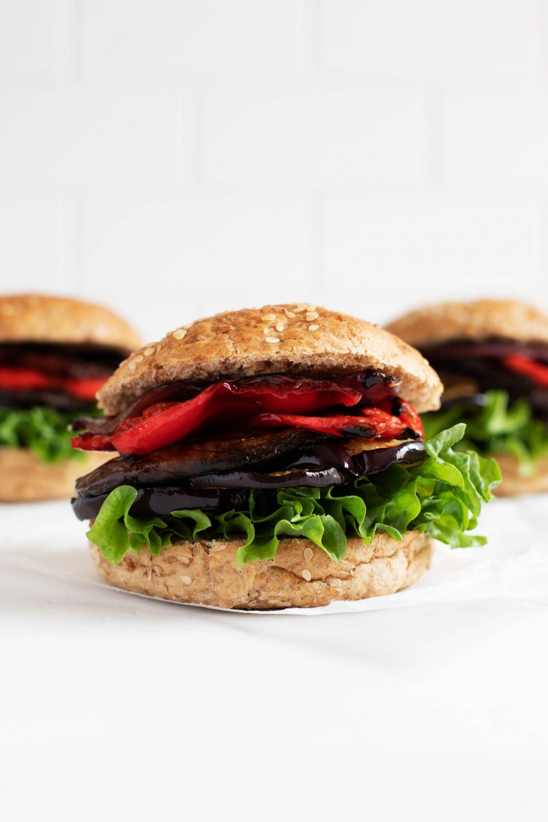 Balsamic Grilled Vegetable Burgers | The Full Helping